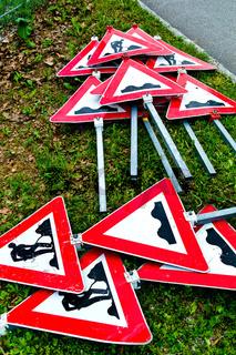 Verkehrszeichen einer Baustelle