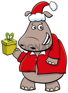cartoon hippo animal character with gift on Christmas time