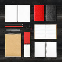 stationery books and notebooks mockup template