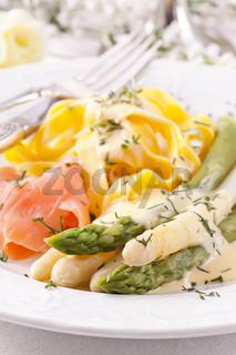 Apsaragus with smokes salmon and Pasta