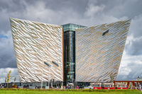 Front view on majestic building of Titanic Museum, located in the Belfast city Titanic Quarter