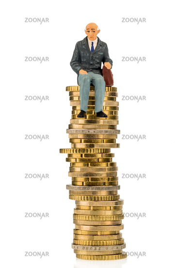 Pensioner is sitting on a pile of money