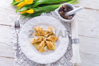 Polish Curd  dumplings with cinnamon butter
