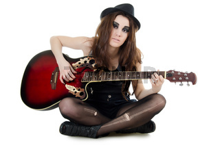 The girl with a guitar - grunge style