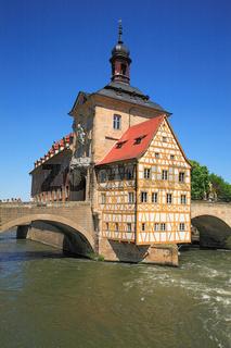 Altes Rathaus und Fluß Regnitz, Bamberg, Oberfrank