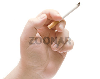 the human hand holding a cigarette