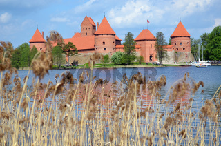Trakai Castle surrounded by Galve lake through rushes. Most visited tourist destination in Lithuania. XIV - XV century architecture.