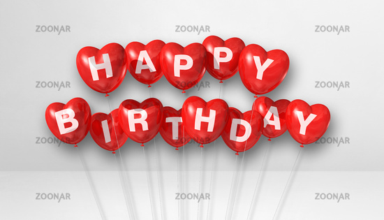 Red happy birthday heart shape air balloons on a white background scene. Horizontal Banner