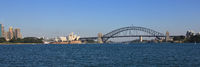 Panoramic view of the Sydney Harbor.