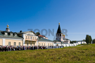VALDAY, RUSSIA - AUGUST 10:The annual sacred religious procession of Icon of Our Lady of Iver, passing in the Novgorod region, Valday. August 10, 2009, Valday, Russia