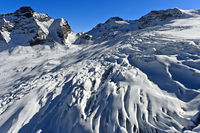 Glacial crevasse on the Feegletscher, Saas-Fee, Valais, Switzerland