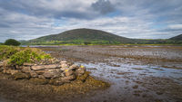Dry marsh after ebb tide with stone pier and mountain in the background in Ring of Kerry
