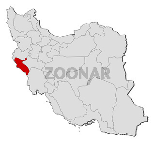 Map of Iran, Ilam highlighted