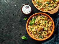 Pakistani chicken biryani rice, topview copy space