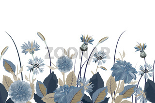 Vector floral seamless border. Flower background. Seamless pattern.