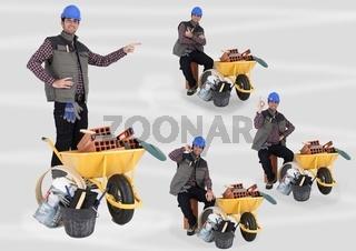 Mason transporting equipment in wheelbarrow