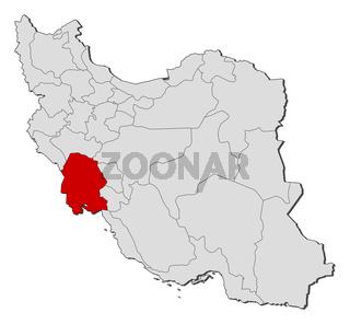 Map of Iran, Khuzestan highlighted