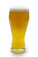 Isolated pint beer on a white background.