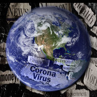Coronavirus and economic related newspaper headlines superimposed over an image of the earth