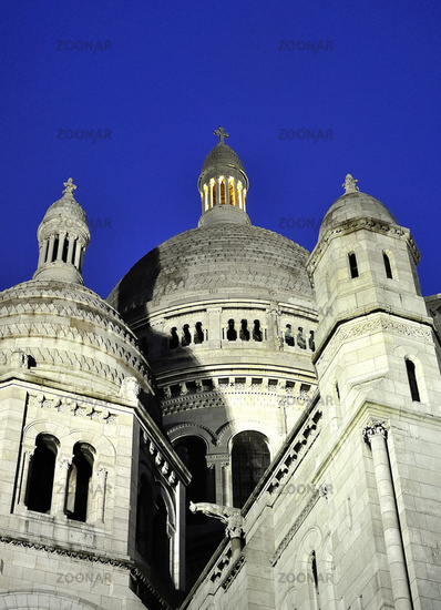 France Basilique Du Sacre Coeur at night.