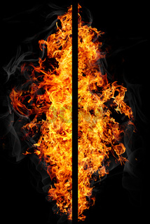 Reversed pictures of fire with smoke on black background