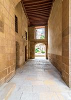 Stone bricks passage leading to the courtyard of historic Beit El Sehemy house, Cairo, Egypt