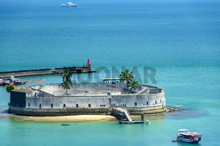 Fortress surrounded by the waters of the Salvador sea and built in the 17th century