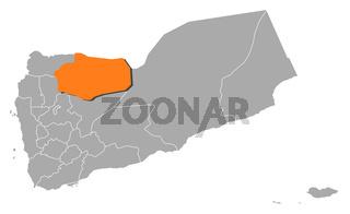 Map of Yemen, Al Jawf highlighted