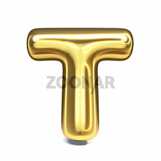 Golden font Letter T 3D