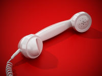 White vintage phone receiver and wire isolated on red background. 3D illustration