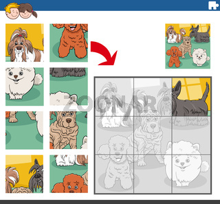 jigsaw puzzle game with purebred dogs animal characters