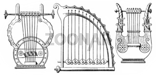 Historical drawing from the 19th Century, Greek stringed instrum