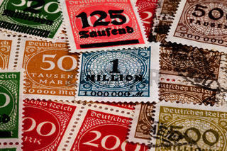 Old inflation stamps from Germany, 1923