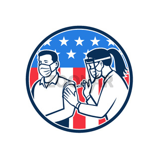 American Frontline Worker Vaccinated with Covid-19 Vaccine by a Medical Doctor or Nurse with Usa Flag Retro Icon
