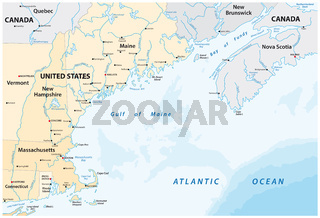 vector map of the North American marginal sea, Gulf of Maine, Canada, United States