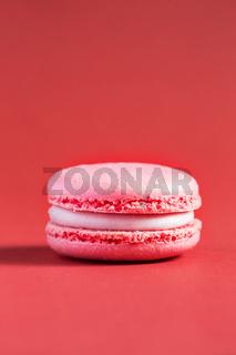 pink Cake macaron or macaroon on red background.