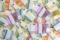 bundles of many Euro banknotes