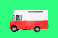 small food truck isolated on white background -