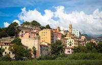 Ventimiglia village in Italy, Liguria Region, with a blue sky