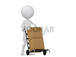 3d people icon with hand trucks and cargo boxes- This is a 3d render illustration