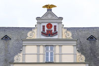 Gable at the Town hall of the city of Lippstadt, North Rhine-Westphalia, Germany, Europe