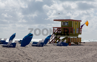 Yellow and green lifeguard station on Miami beach