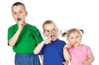 children to brush his teeth