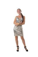 Woman dancing in silver dress