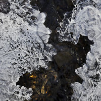 Ice structures on the Gederbach in winter, Witten, North Rhine-Westphalia, Germany, Europe