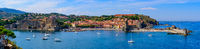 Panorama of the old town of Collioure, a seaside resort in Southern France
