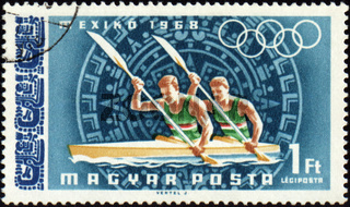 HUNGARY - CIRCA 1968: A post stamp printed in Hungary shows rowing