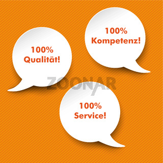 Speech Bubbles Quality, Service, Competence