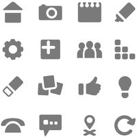 Set of simple gray icons for design.