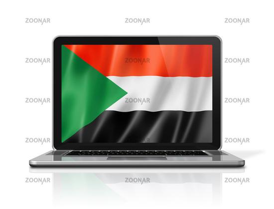 Sudan flag on laptop screen isolated on white. 3D illustration